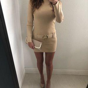 Inc Metallic Gold Turtleneck Sweater Dress